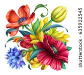 botanical floral illustration ... | Shutterstock . vector #635922545