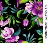 seamless pattern  botanical... | Shutterstock . vector #635923571