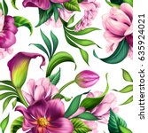 seamless pattern  botanical... | Shutterstock . vector #635924021