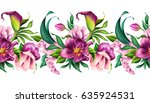 Stock photo seamless border botanical illustration beautiful tropical flowers floral clip art isolated on 635924531