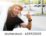 young asian man showing thumbs... | Shutterstock . vector #635925035