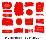 set of red paint  ink brush... | Shutterstock .eps vector #635925299