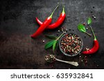 red hot chili pepeprs and... | Shutterstock . vector #635932841