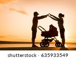 silhouettes of parents protect... | Shutterstock . vector #635933549