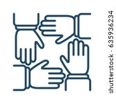 four human hands vector icon in ... | Shutterstock .eps vector #635936234
