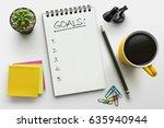 top view notebook with goals... | Shutterstock . vector #635940944