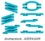 vector set of blue flat ribbons ... | Shutterstock .eps vector #635941649
