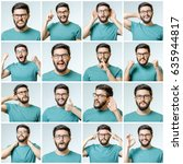set of handsome emotional man... | Shutterstock . vector #635944817