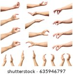 set of man hands measuring... | Shutterstock . vector #635946797