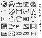 cinema icons set. set of 25... | Shutterstock .eps vector #635949551