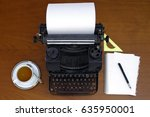 retro writing machine with... | Shutterstock . vector #635950001