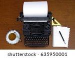 retro writing machine with... | Shutterstock . vector #635950001