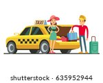 taxi with open trunk. happy... | Shutterstock .eps vector #635952944