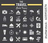 travel solid icon set  tourism... | Shutterstock .eps vector #635953574