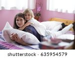 mom and daughter little girl... | Shutterstock . vector #635954579