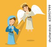 virgin mary with angel... | Shutterstock .eps vector #635957999