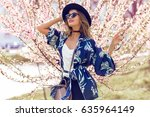 summer fashion portrait of... | Shutterstock . vector #635964149