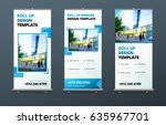 business roll up banner stand.... | Shutterstock .eps vector #635967701