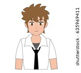young boy anime manga student... | Shutterstock .eps vector #635969411