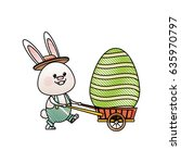 drawing easter rabbit with... | Shutterstock .eps vector #635970797