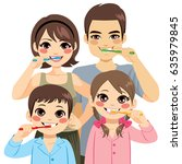 cute four member family... | Shutterstock .eps vector #635979845