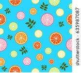 seamless wallpaper with citrus... | Shutterstock .eps vector #635987087