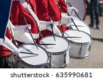 Drummers in red uniforms on a...
