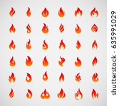 raster version. big fire icons... | Shutterstock . vector #635991029