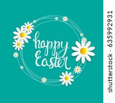 happy easter spring holiday... | Shutterstock . vector #635992931