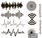 set of sound waves. lines.... | Shutterstock .eps vector #635993159