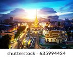 temple in china town  sunset at ... | Shutterstock . vector #635994434