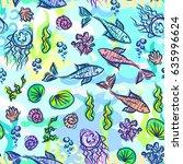 underwater pattern. fish ocean... | Shutterstock .eps vector #635996624