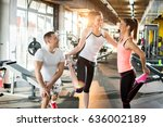young sporty people doing... | Shutterstock . vector #636002189