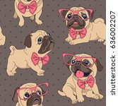 seamless pattern with cartoon... | Shutterstock .eps vector #636002207
