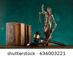 brown gavel with a brass band... | Shutterstock . vector #636003221
