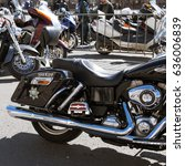 Small photo of MOSCOW, RUSSIA - MAY 06, 2017: Black motorcycle Harley Davidson in the parking, pr. Academician Sakharov. Motofestival 2017