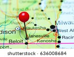 Janesville pinned on a map of Wisconsin, USA