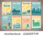 travel and tourism brochure set.... | Shutterstock .eps vector #636009749