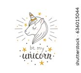 fashion cute unicorn with hand... | Shutterstock .eps vector #636015044