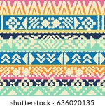 navajo retro stripes   seamless ... | Shutterstock .eps vector #636020135