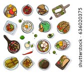 set of mexican traditional food.... | Shutterstock .eps vector #636020375