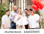 parents and godparents pose for ... | Shutterstock . vector #636035855