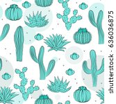 hand drawn succulent ornament.... | Shutterstock .eps vector #636036875