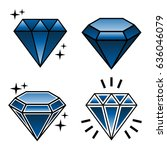 collection of tattoo diamonds... | Shutterstock . vector #636046079