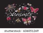 summer t shirt composition.... | Shutterstock .eps vector #636051269