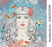 hand drawn mermaid among corals ... | Shutterstock .eps vector #636052949
