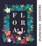blossom floral natural flat... | Shutterstock . vector #636054281
