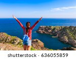 tourist woman with backpack on... | Shutterstock . vector #636055859