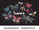 summer print composition. t... | Shutterstock .eps vector #636057011