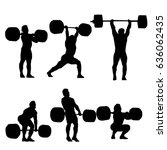 clean and jerk silhouette of ... | Shutterstock .eps vector #636062435